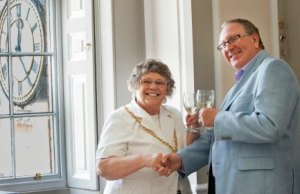 Cllr Norma Bacon, Mayor of Lichfield, officially opens the new office in Donegal House with the Chairman of Lichfield Festival Ltd, Tony Bateman