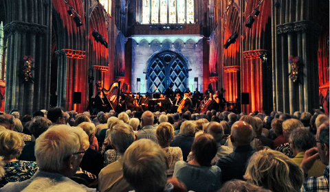 The BBC Philarmonic Orchestra playing at Lichfield Cathedral during the Lichfield Festival