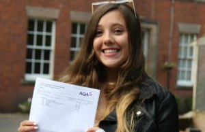Student Charlotte Sinclair with her GCSE results