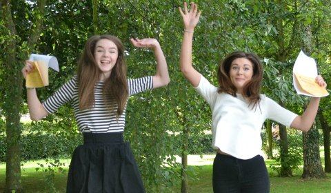 Florence Best and Amy Wright celebrating their results