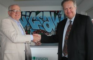 Peter Selwyn with Cllr Colin Greatorex at the official handover of the Jigsaw office