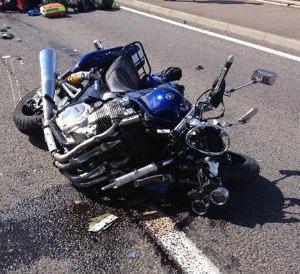 The damaged blue Yamaha motorbike. Pic: Midlands Air Ambulance
