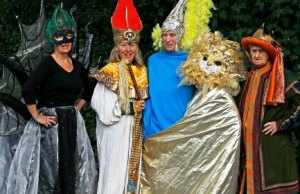 Members of the Mysteries don some of the costumes. Pic: Peter Bell