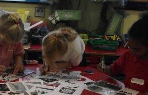 Ridgeway Primary School pupils taking part in the Big Draw