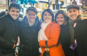 Stuart Clark, Denise Softley, Sarah Clark, Donna Holland and Richard Holland in Times Square