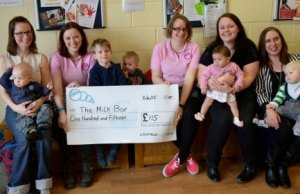 Members of the Four Oaks Milk Bar receive their donation from Lichfield Ladies Circle