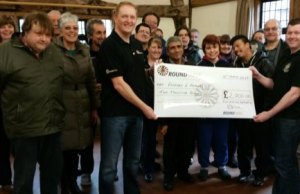 David Nuttall and Greg Pitts from Lichfield Round Table present Friends 2 Friends with a donation of £2,000