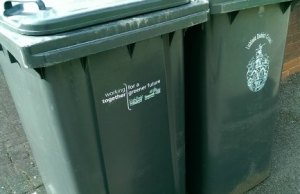 Bins with the Lichfield District Council and Tamworth Borough Council logos on