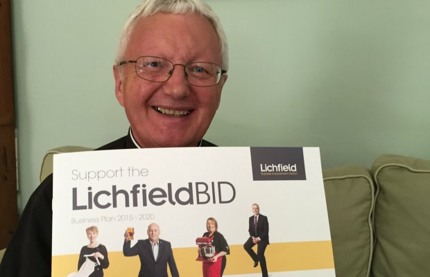 The Very Rev'd Adrian Dorber, Dean of Lichfield, backing the Business Improvement District plans
