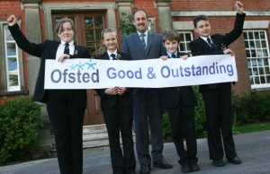 Niamh Padley, Lois Pickard, headteacher Dr Daryl Brown, Zack Gambrell and Sam Eden