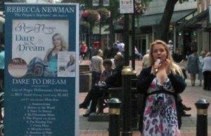 Rebecca Newman busking in Lichfield