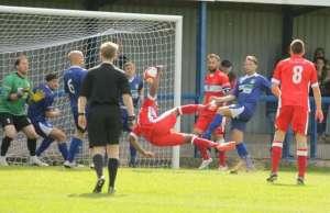 Nathan Waite's overhead kick puts Chasetown FC ahead. Pic: Dave Birt