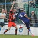 Nathan Waite slams home his second goal. Pic: Dave Birt