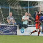 Nathan Waite sees the ball hit the net. Pic: Dave Birt