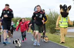 Staffordshire Police mascot Kash joins runners for the Big Dog Jog
