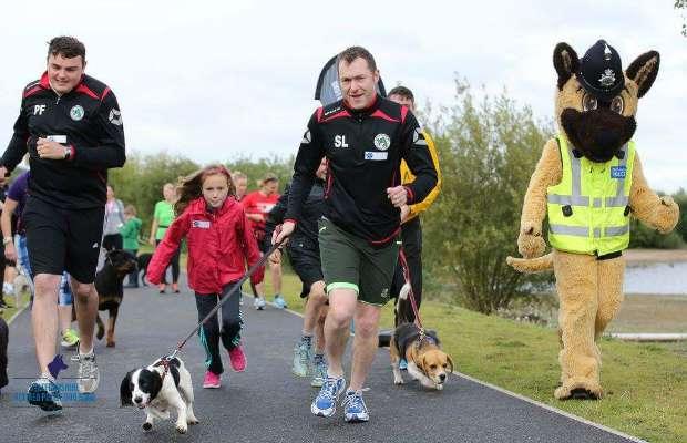Staffordshire Police mascot Kash joins runners for the Big Dog Jog