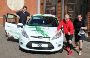 Staff from the Lichfield Garrick and Tempest Ford getting ready for the Lichfield 10K