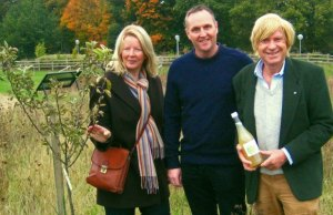 Debbie Barnish and Julian Floyd from WFEG) with Michael Fabricant MP in the Jubilee Park orchard