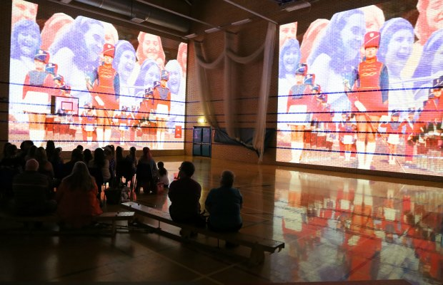 The Luxmuralis projection of the Burntwood Wakes archive film