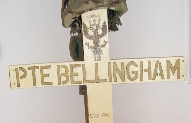 A cross created by Gareth Bellingham's comrades