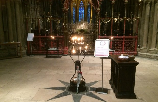 The Pray for Paris area in Lichfield Cathedral