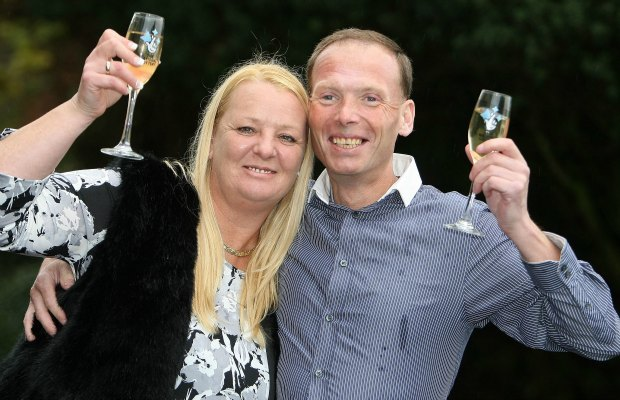 Stuart Powell and his wife Denise celebrating their latest win