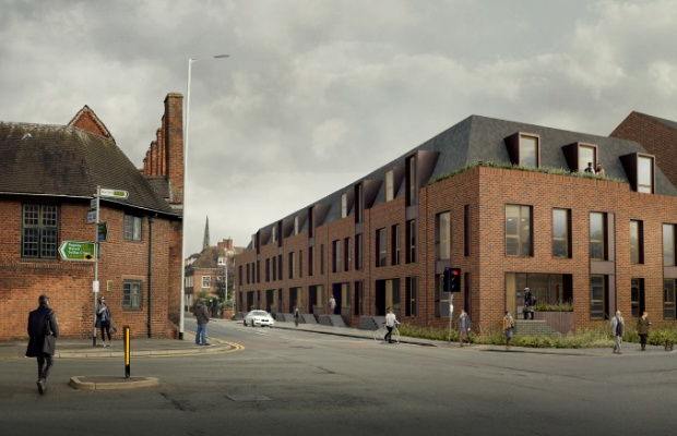 An artist's impression of how the Friarsgate development would have looked where Tempest Ford previously stood