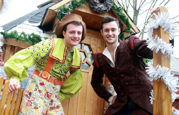 Two of the stars of Jack and the Beanstalk at Santa's Grotto