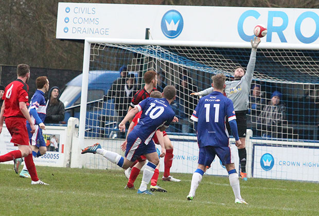 A fine save prevents Chasetown from scoring. Pic: Dave Birt