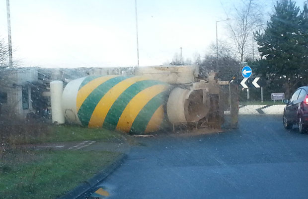 The overturned cement mixer in Burntwood. Pic: The Marketing People