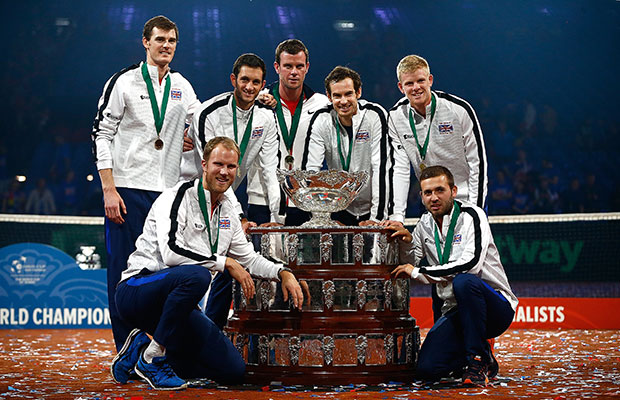 Team GB with the Davis Cup