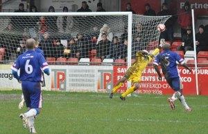 John Bateman saves to deny Sheffield. Pic: Pamela Mullins