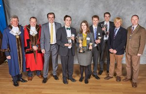 Michael Sheldon (Sheriff of Lichfield), Andrew Smith (Mayor of Lichfield), Simon Price (Managing Director of Arthur Price of England), Daniel Ruttley, Lucy Boland and Robert Adderley (all from the winning John Taylor High School team), Lewis Coles (Best Overall Speaker winner), Michael Fabricant MP, and David Stainsby (President of Lichfield St Chad Rotary Club)