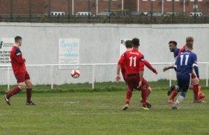 Jed Davies' shot heads towards goal. Pic: Dave Birt