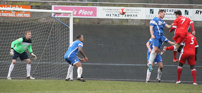 George Washbourne heads home an equaliser for Chasetown. Pic: Dave Birt