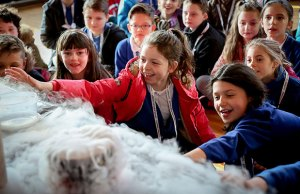 Pupils from Whittington Primary learning about the properties of frozen carbon dioxide. Pic: Lichfield Cathedral School