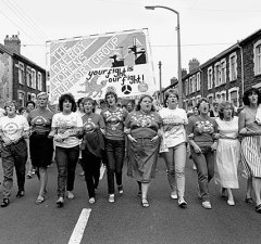 Women protesting during the miners strike