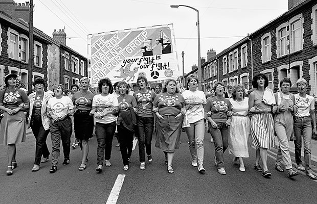 Women protesting during the miners' strike