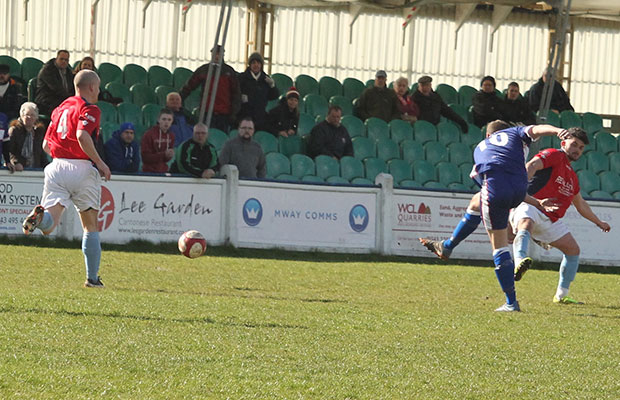 Paul Sullivan fires Chasetown in front. Pic: Dave Birt