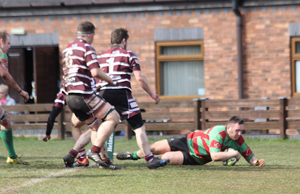 Luke Rookyard crosses for a Burntwood try. Pic: Joanne Gough