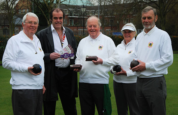Bernard Derrick, Simon Price, Geoffrey Parkinson, Janet Holland and Peter Holland celebrating the continued sponsorship agreement