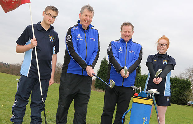 Pupils Bradley Rose and Abigail Philpott with golf professionals Steve Hadfield and Paul Hebdon