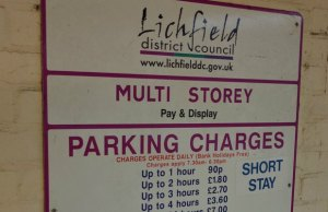 A car parking sign in Lichfield