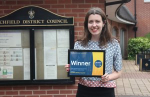 Lichfield District Council GIS officer Roberta Whittaker with the award