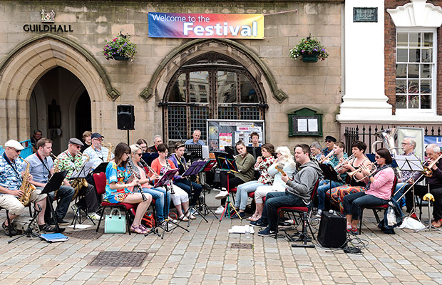 Blast Off performing outside the Lichfield Guildhall. Pic: Robert Ings