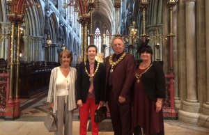 Burntwood Town Council's consort Brenda Brettell, Cllr Beth Fisher, Cllr David Salter and his consort Pam Salter in Lichfield Cathedral