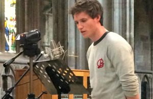 Eddie Redmayne recording war poetry in Lichfield Cathedral