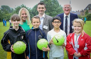 Gail Emms, Howard Davies, Alex Welburn and Rebecca Bedford with students at the Inspiring Science event