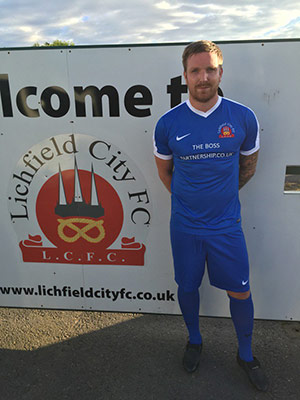 Defender Dan McLeod in the new Lichfield City home kit