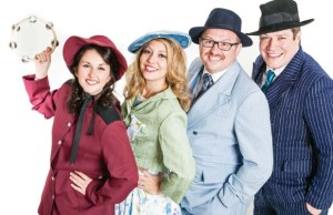 Charlotte Middleton as Sarah Brown, Vickie Beck as Miss Adelaide, James Pugh as Nathan Detroit and Pete Beck as Sky Masterson